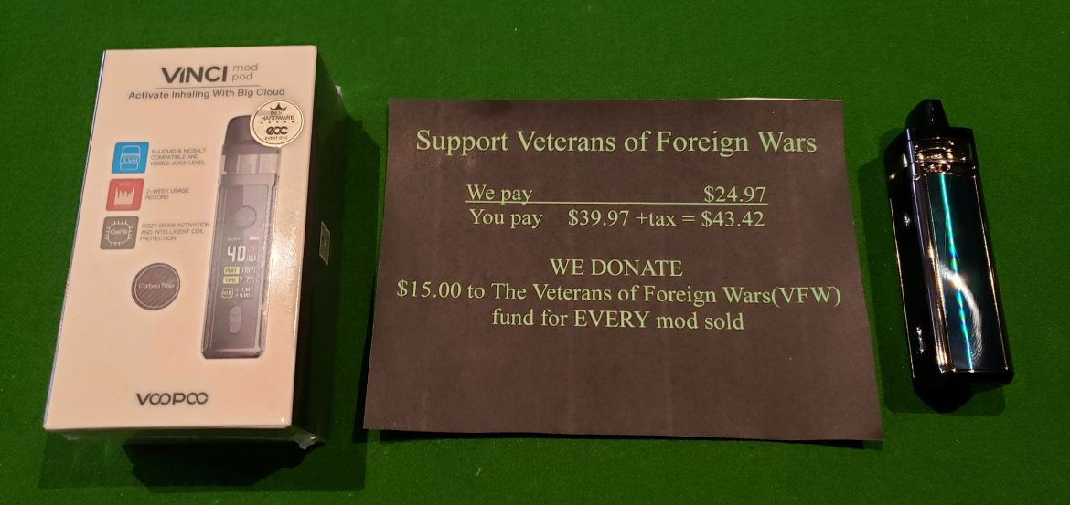 VFW Electronic Cigarette Device Deal - We Donate $15 ro the VFW When You Purchase